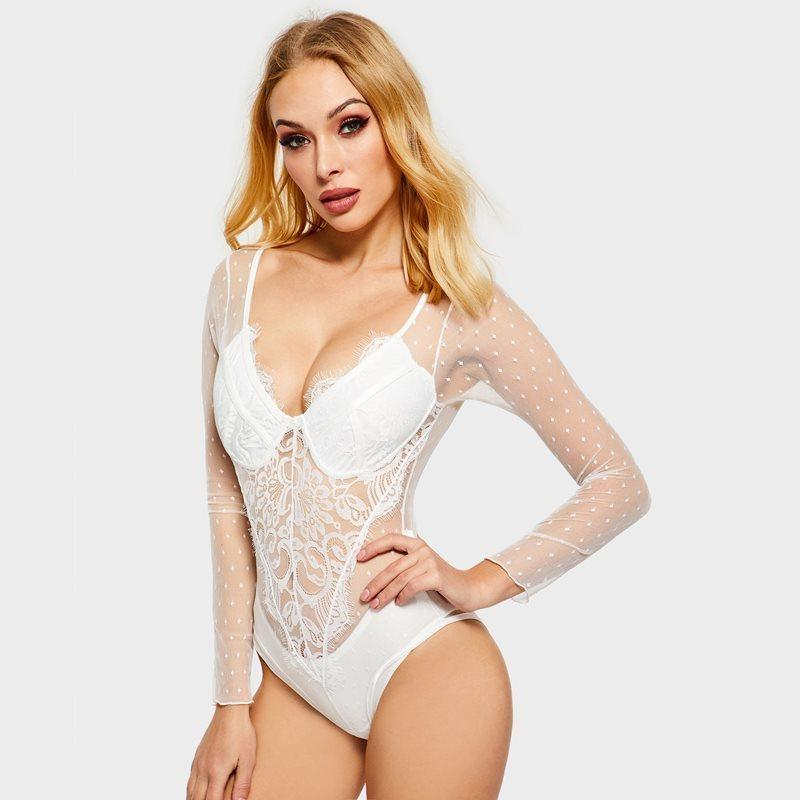 91ffb397793 2019 Women Date High Street White Polka Dot Mesh Floral Lace ...