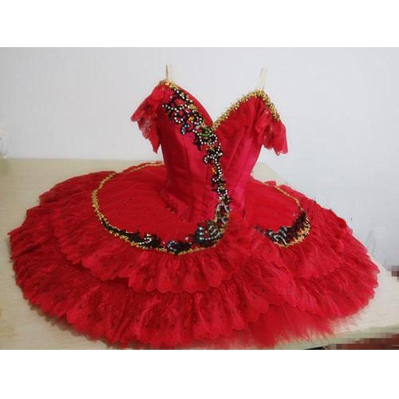 High Quality Customized Diamond Red Ballet Dress,Firebird Don Quixote Role Organza Tulle Tutus Flamingo Drop Shipping HB216