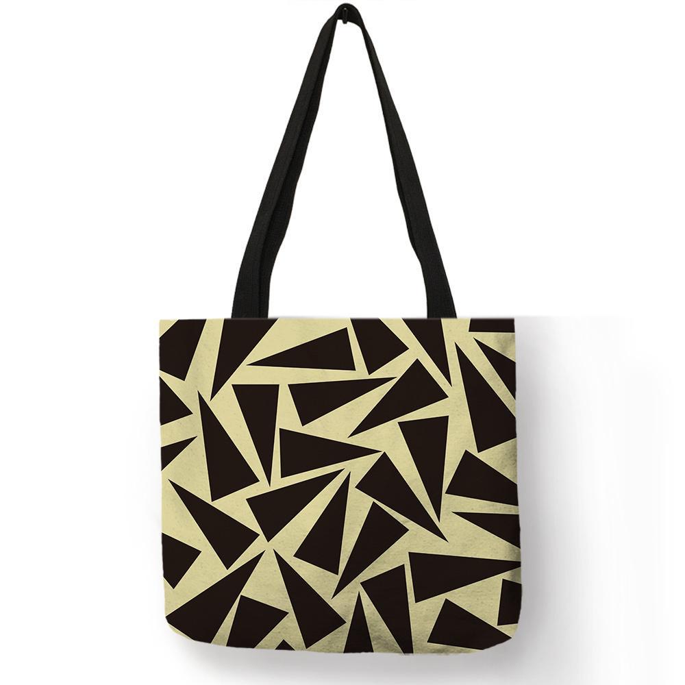 74399216 Multi Muster Leinen Handtaschen Geometrie Druck Eco Leinen Tragbare Leichte  Umhängetasche Studenten Lässig Schulbuch Einkaufstasche