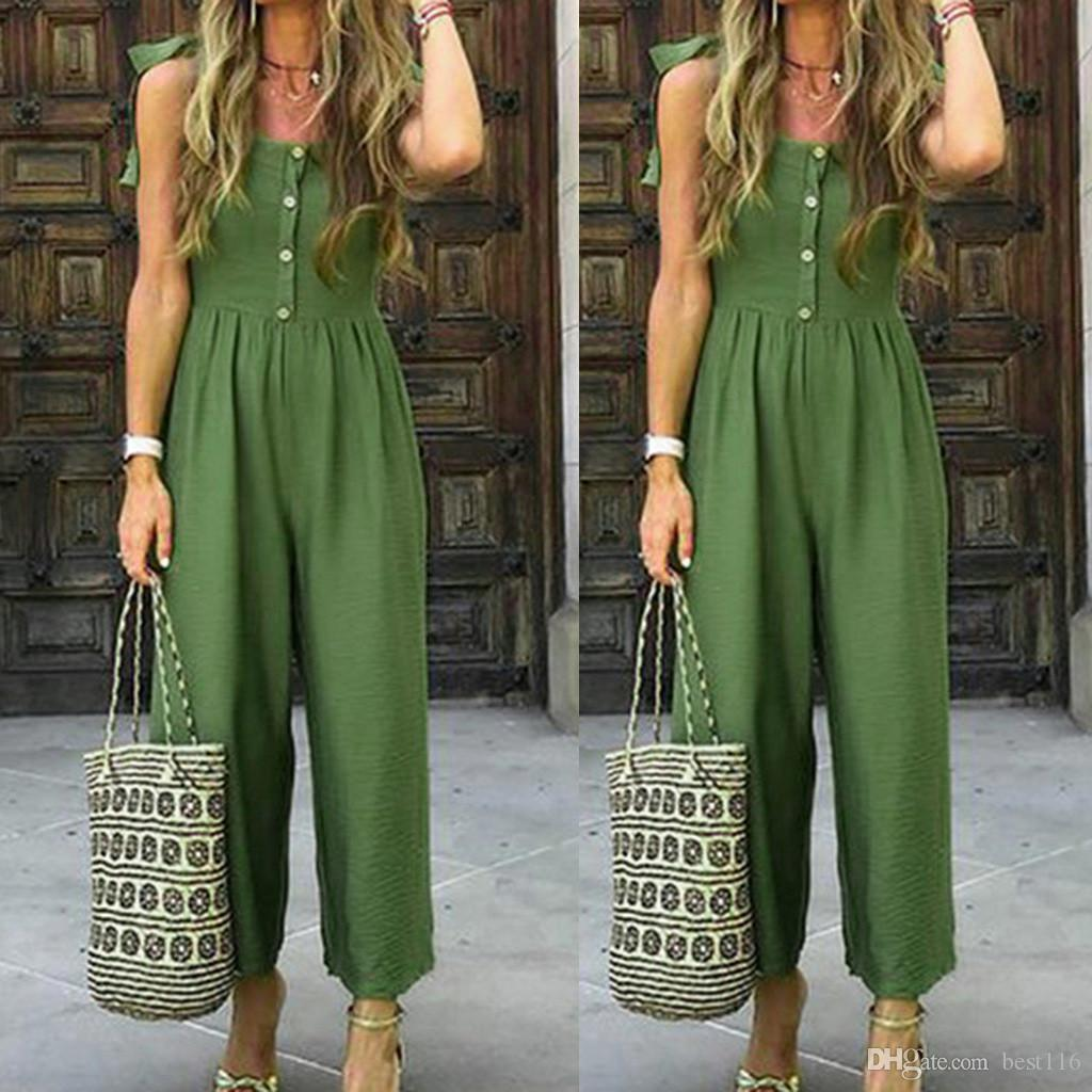New Green Simple Jumpsuit Womens Casual Summer Solid Color With Buttons Shoulder Strap Bandagws Casual Jumpsuit overalls