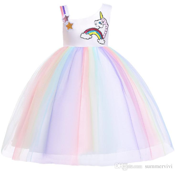 b38f20a05 Girls Sequins Stars Rainbow Unicorn Embroidery Dress Kids Colorful ...