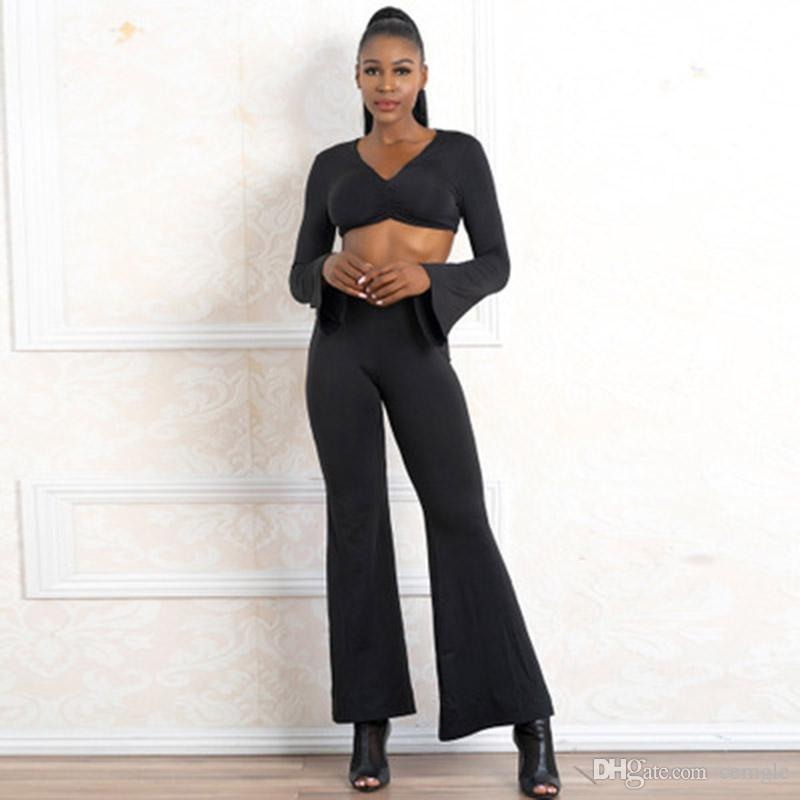 fcbc020b6b 2019 Women Fashion Sexy Two Piece Black V Neck Long Sleeved Tops Flared  Long Pants Trumpet Sleeves Slim Set From Cemgle