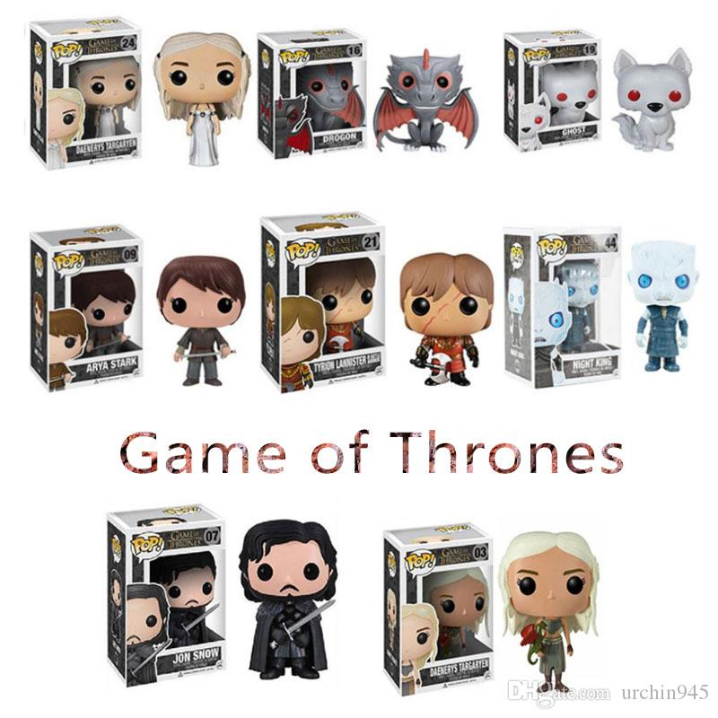 Funko Pop Figures Cartoon Giochi di troni Jon Snow Action Figurine Toy Portachiavi Action figures Decorazione desktop Giocattoli Regali