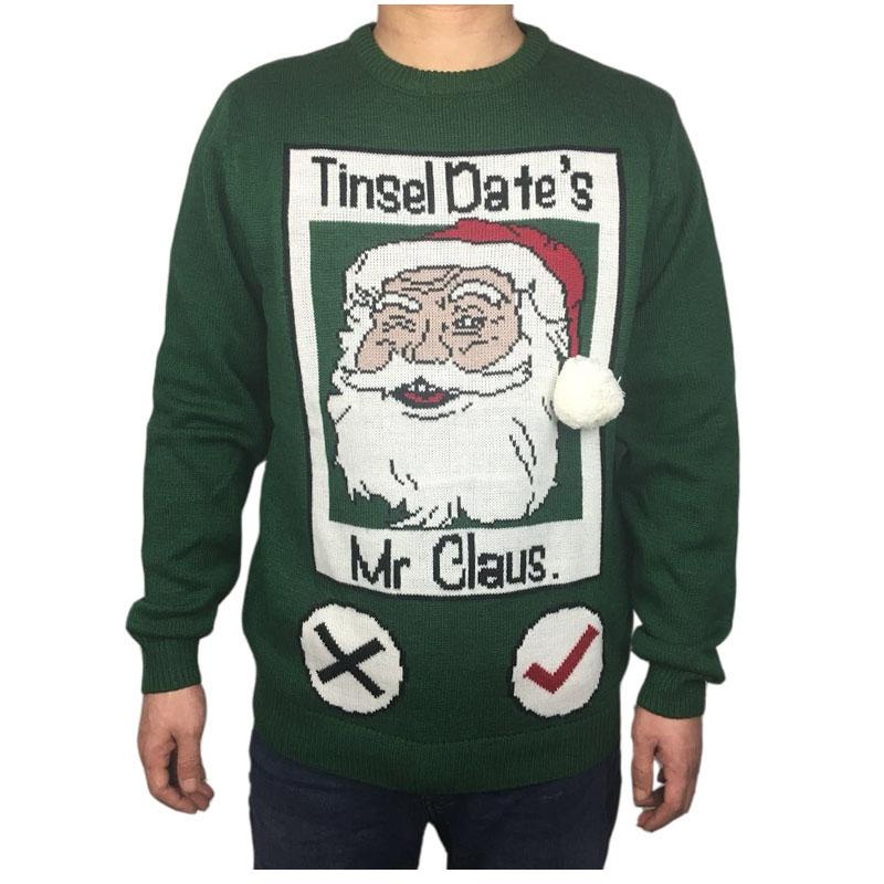 f3ba64d6ff79 Funny Knitted Ugly Christmas Sweater for Men Cute Men's Green Ugly Xmas  Sweaters Santa Holiday Pullover Jumper Oversized S-2XL