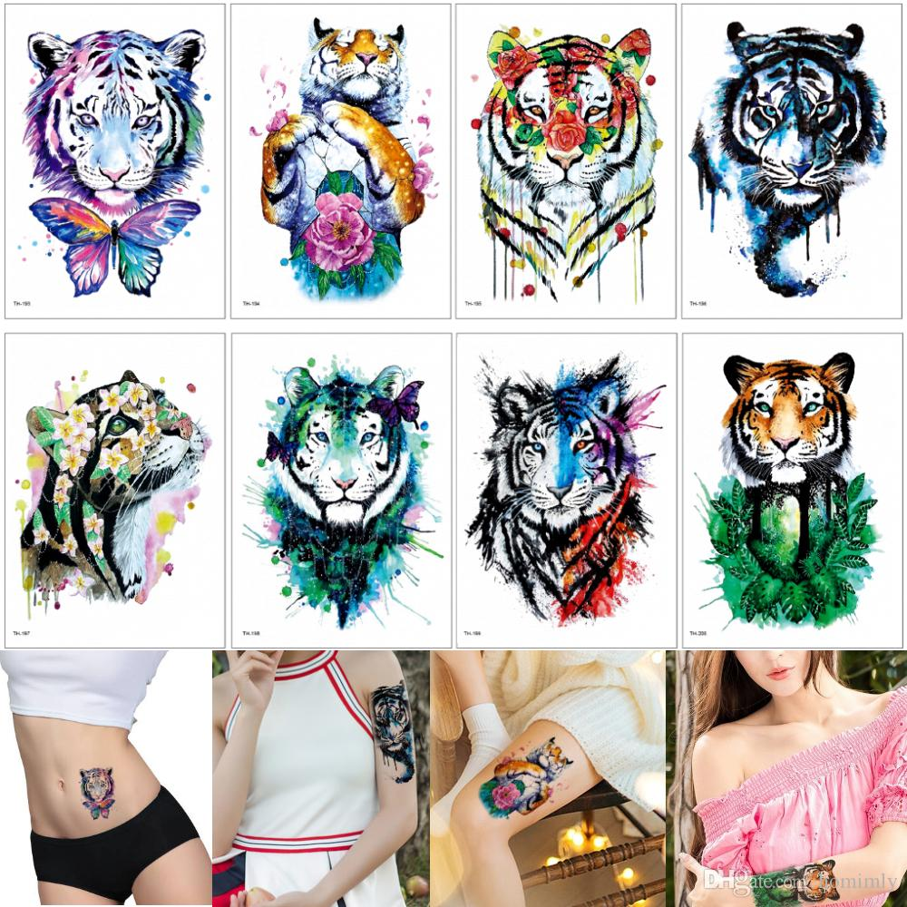 1367559a6 Colored Drawing Tiger Tattoo Stickers Watercolor Cute Animal Temporary  Tattoos Design For Women Men Arm Chest Waist Cartoon Kids Decal Gifts  Realistic ...