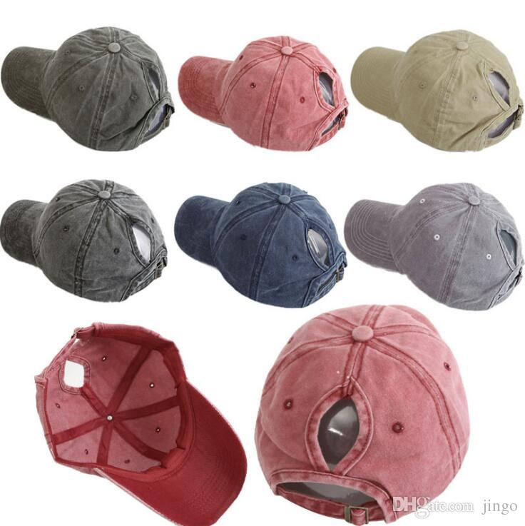 163d0cfe3 DHL Washed ponytail Baseball Cap Vintage Dyed Adjustable Unisex Classic  Plain sport outdoor summer Dad Party Hats Snapback