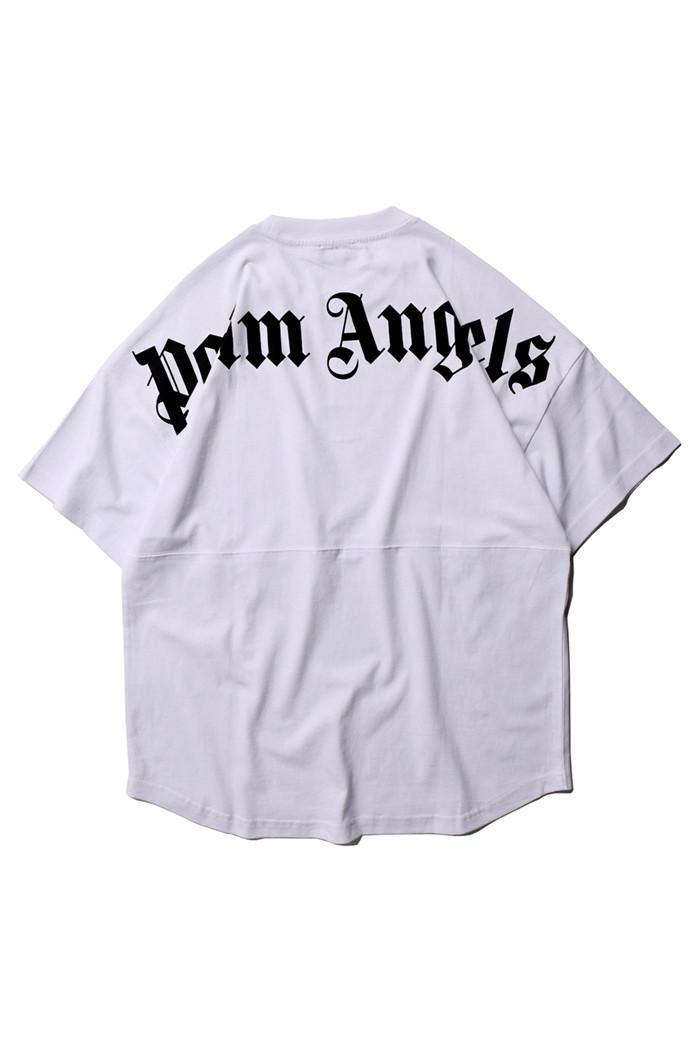 Palm Angels Mens Summer Letter Print Tshirt Short Sleeve Crew Neck Hip Hop Style Loose Fashion Relaxed Homme Shirts