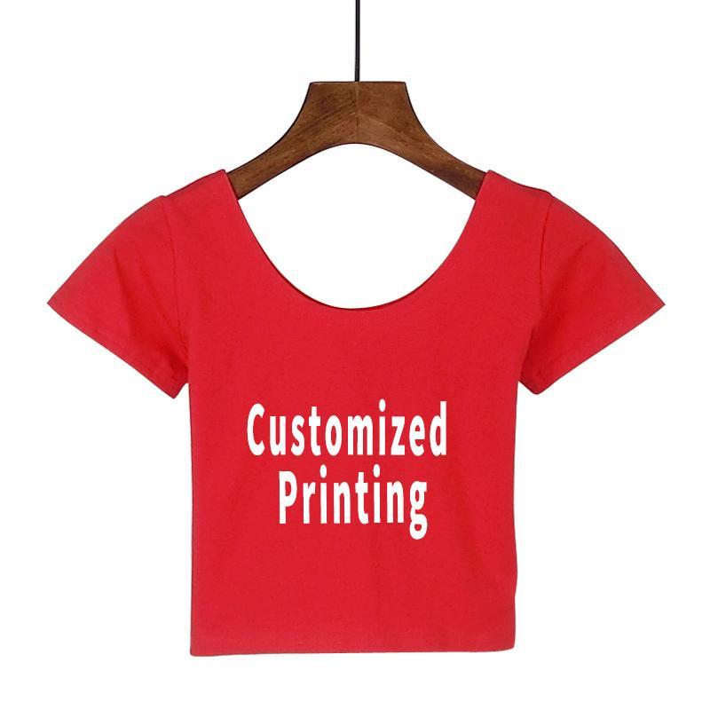 96e595d44 2019 Women Sexy Crop Top T Shirt Custom Printed Crop Top Tee Short T ...