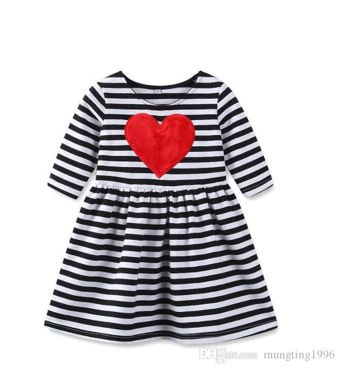 a7c0b4fcd 2019 Black And White Stripes Heart Baby Girls Valentine S Day Dress ...