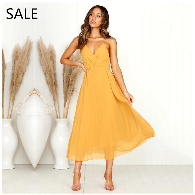 962a9283d Compre Vestido De Las Mujeres De Vacaciones Vestidos Midi Sin Espalda Correa  De Espagueti De Verano Con Cuello En V Color Liso Hot Ladies Beach Dress  Plus ...