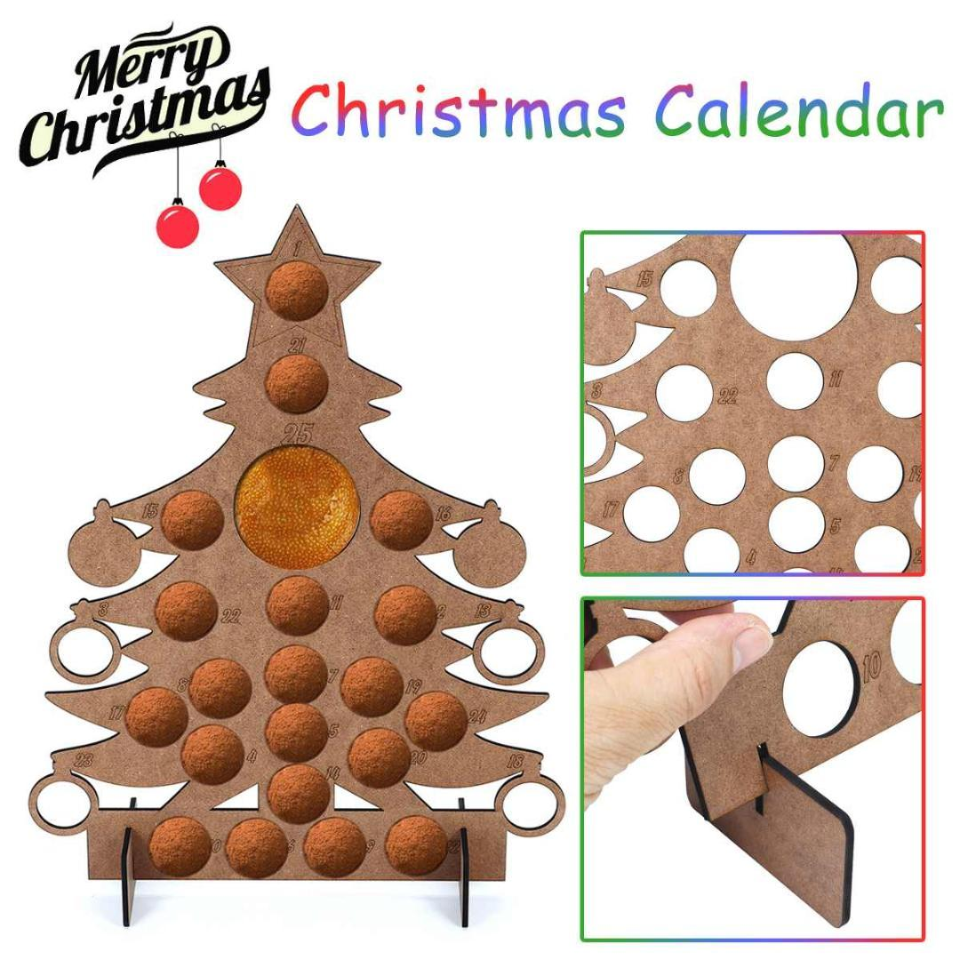 Wooden Christmas Calendar Christmas Tree Modeling Countdown Calendar Chocolate Display Stand For Decoration