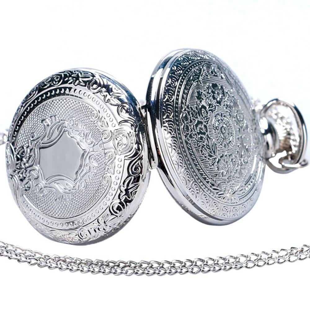 Fobs Reloj Mujer Vintage Retro Men Women Dress Gold Silver Shield Round Case Quartz Pocket Watch Chain Relogio De Bolso Gift