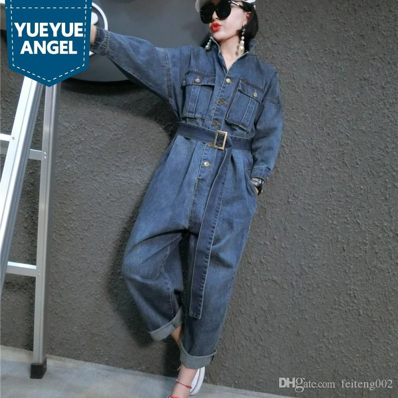 c80f21a712 2019 Korean Style Loose Fit Casual Jumpsuits Women Belt Sashes Denim Jean Overalls  Female Playsuits Rompers Large Size M XXL Blue  400985 From Feiteng002