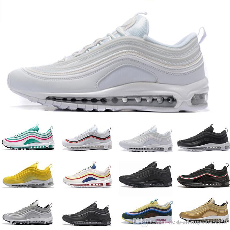 nike air max 97 airmax Air Hommes Chaussures De Course Balck Métallique Or South Beach PRM Jaune Triple Blanc 9 Air Designer Femmes Sports Sneakers US