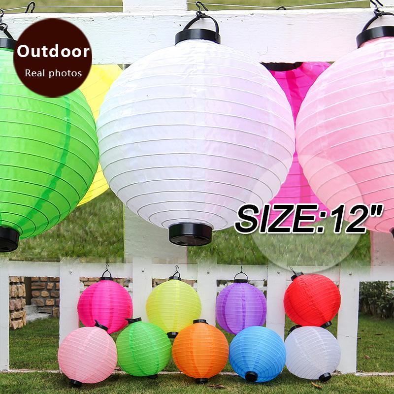 12inch White Chinese New Year Home Decorations Silk Lanterns Led