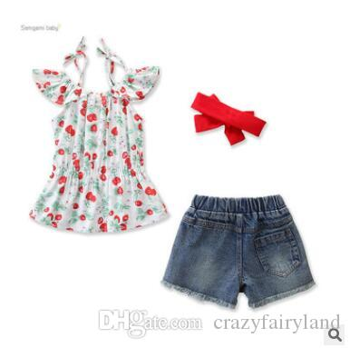 5b20a2e64499 2019 Ins Baby Girls Clothing Outfits Set 2019 Summer Ruffle Cherry Printed  Tops +Ripped Jeans Shorts+Headband Set Kids Toddler Girls Clothes From ...