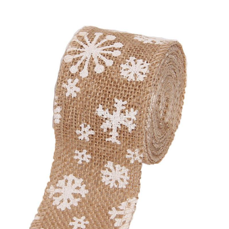 Linen Ribbon Roll Vintage Decoration Snowflake Pattern Diy Craft Ribbon For Crafts / Wedding / Scrapbooking Gift Wrapping