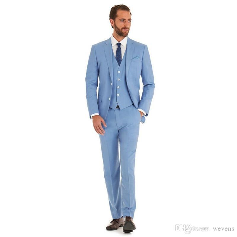2019 Sky Blue Three Pieces Wedding Tuxedos Slim Fit Two Button Peaked Lapel Formal Prom Suit Beach Groomsmen Wears
