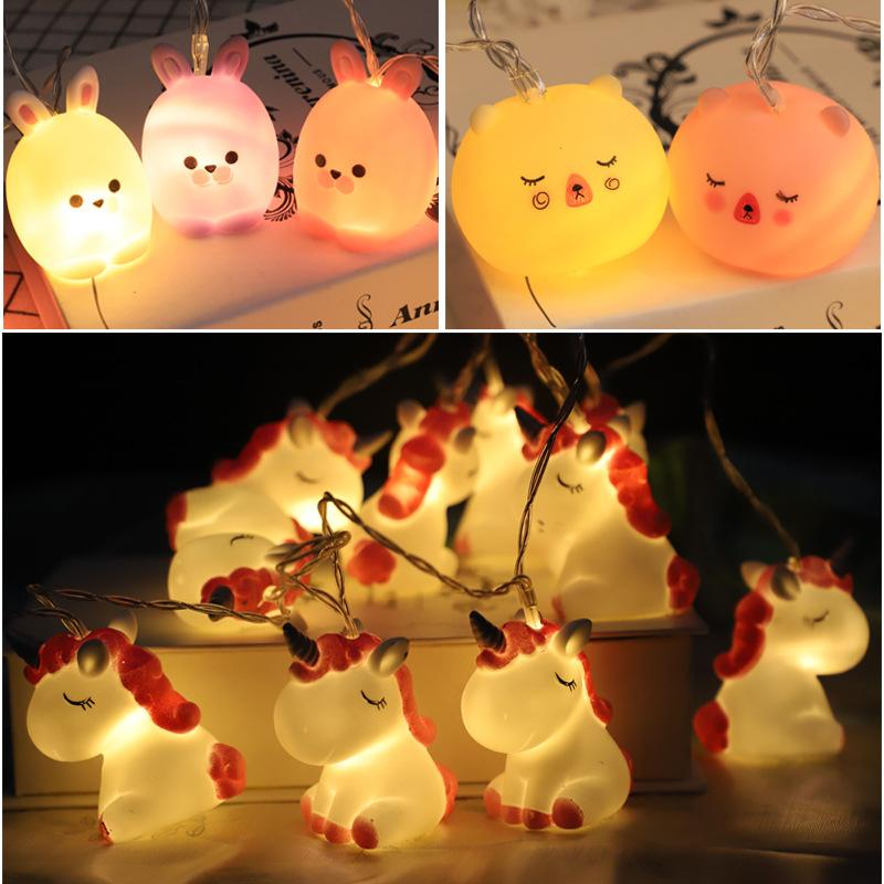 Lovely Unicorn Dog Duck Shape Lamp String Pvc 10 Led Light Strings Decorative Lanterns Fit Kids Girls Bedroom 1.5m 15 5wc E1