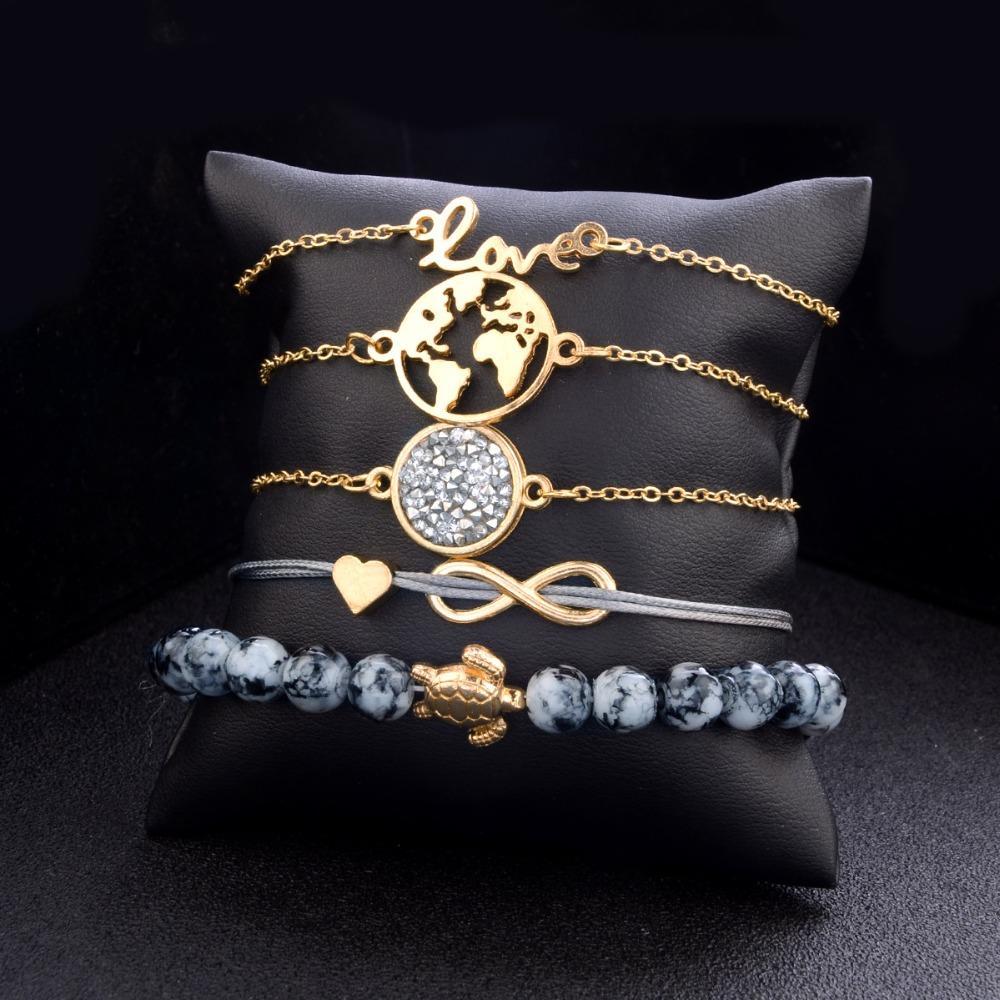Braccialetti di fascino di Boho Turtle di / Set mette le donne Braccialetto di pietra naturale dei branelli di pietra artificiale della Boemia Mappa i braccialetti di Multi-strato