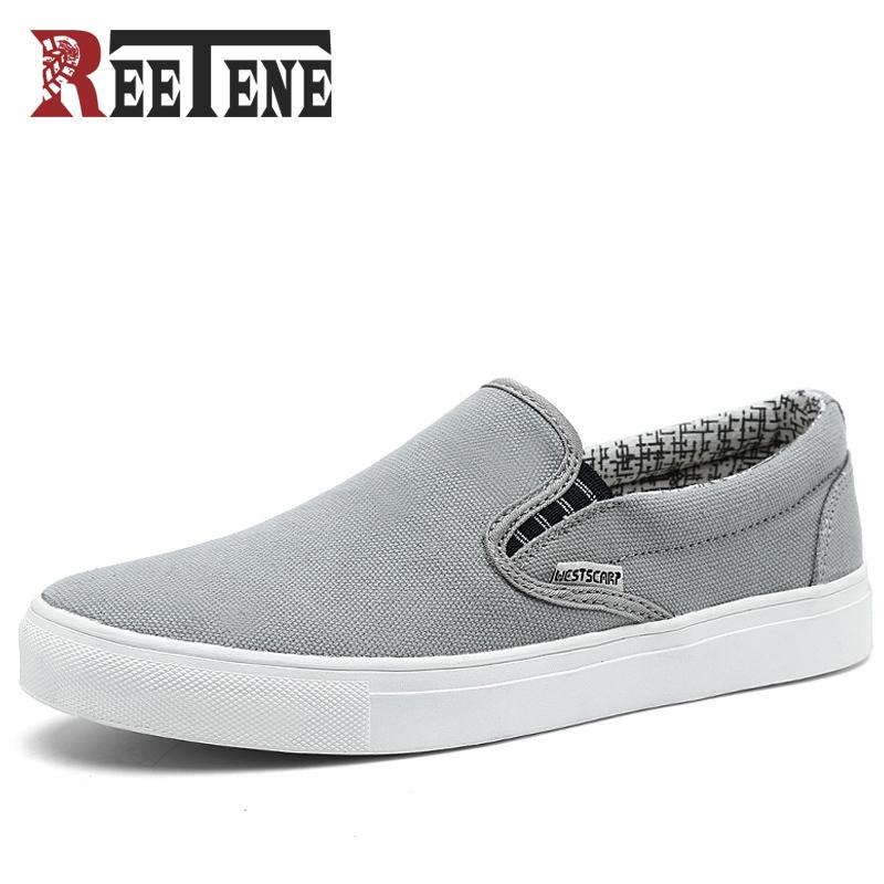 fe57b6dac3a755 REETENE Canvas Men Shoes Loafers 2018 Fashion Brand Canvas Shoes Comfort  Breathable Slip On Casual Shoes Autumn Flats Big Size Online with   34.15 Pair on ...