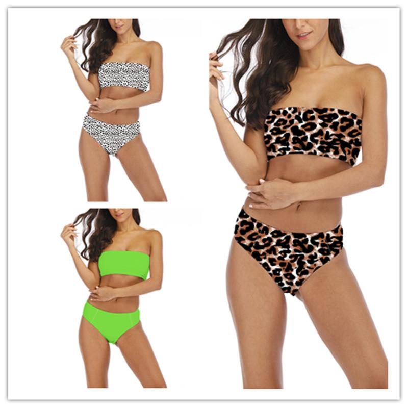 5ffcc928e87e 2019 2019 New Sexy Ladies Swimwear Tube Top Split Bikini Push Ups Solid  Color Leopard Brazilian Bikini Summer Swimsuit Women Suit From Litchiguo,  ...