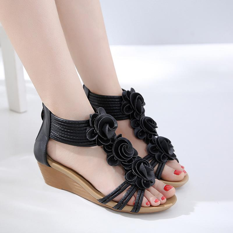 8af6315bc Top 2020 Zinc 2019 New Roman Style Womens Sandals Flower Slope Heel Large  Size Comfortable Roman Shoes Wholesale Heeled Sandals Boys Sandals From ...