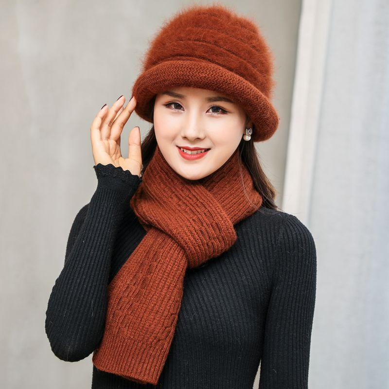 Kagenmo Fashion Mother Winter Warm Cap Old Women Outdoor Keep Warm Scarf  Elegant Female Autumn And Winter Rabbit Fur Knit Hats Summer Hats Funny Hats  From ... 0f60c32567e