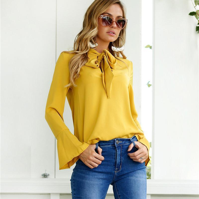 Women Blouses 2019 Summer Chiffon Blouse Elegant Long Sleeve Shirts Female  Bow Tie Office Blouse Solid Color Casual Tops Blusas Online with   36.82 Piece on ... 3c2da4f58ade