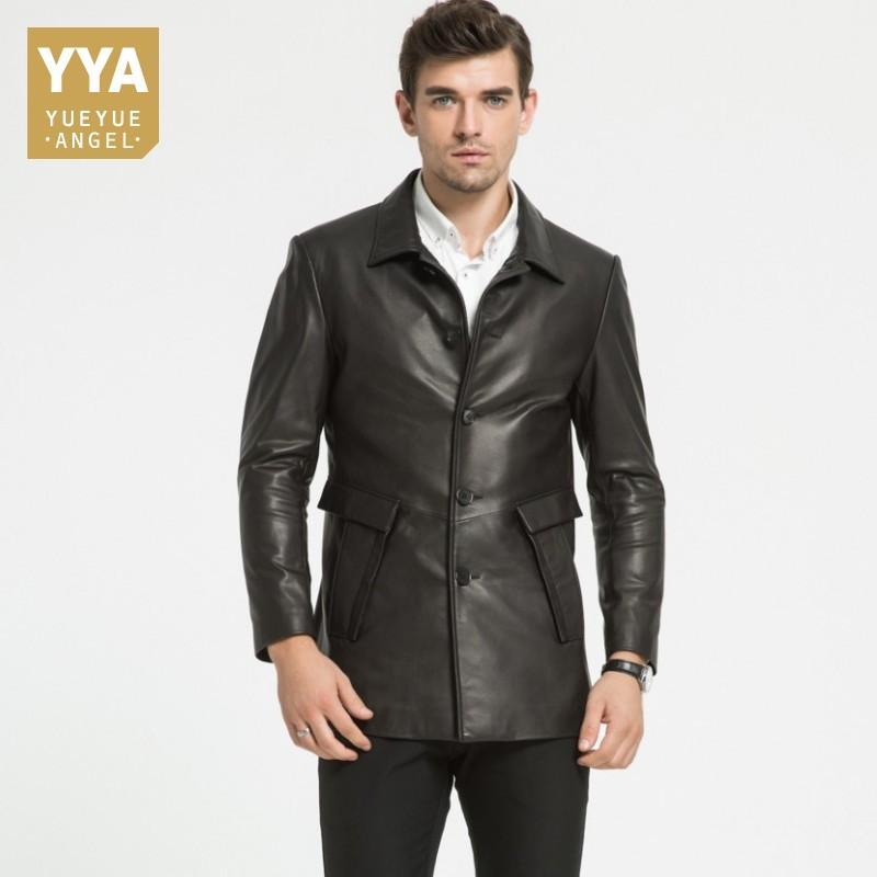 new arrival 478b5 a57a2 2018 Mens giacca di pelle da uomo lungo cappotto di mezza età uomini  monopetto giacche formali uomini bel soprabito maschile esterno