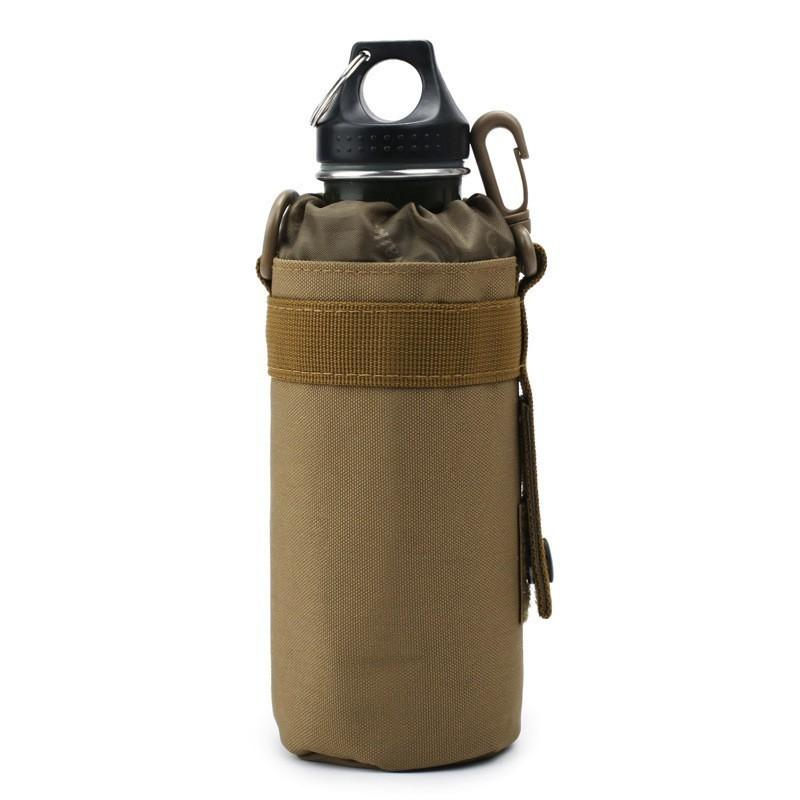 New Nylon Portable Water Bottle Pouch Molle Camping Kettle Bags For Backpack Vest Belt Travel Cycling Hiking Accessories