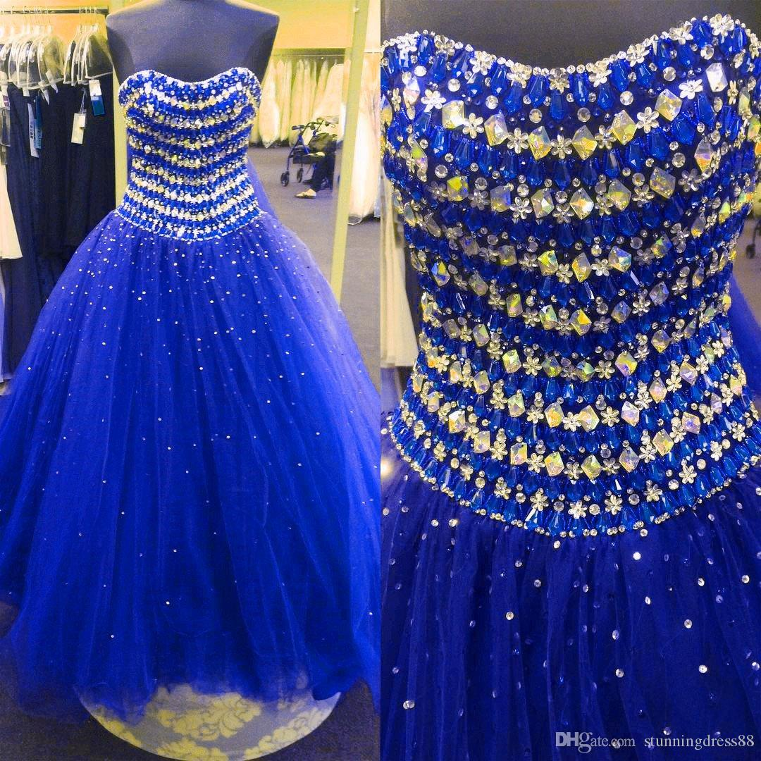 Stunning Royal Blue Vestidos De Quinceanera dresses 2019 Real Photo Strapless Bling Crystal Beaded Sequins Ball Gown Prom Sweet 16 Dress