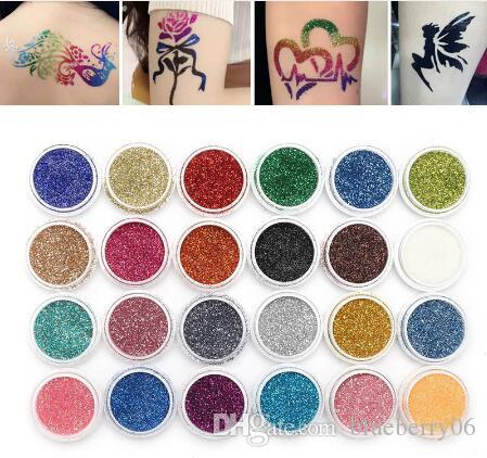Body Art Glitter Tattoo Kit 118 Pattern Stencils Brush Glue Temporary Tattoos Tools Body Painting Glitter Set