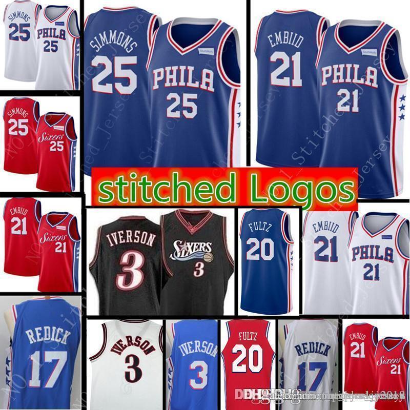 brand new da6ce 04fa7 21 joel # embiid Philadelphia New 76ers Jersey Mens 25 Ben # Simmons 17  Redick # Retro Mesh Allen 3 Iverson Basketball Jerseys