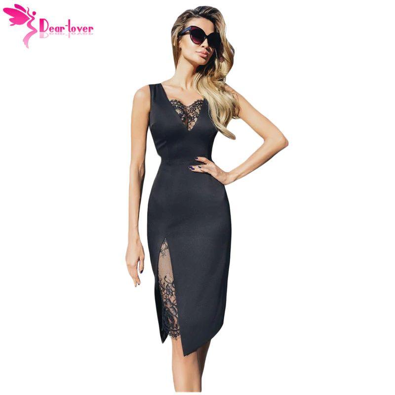 f20ace385e19 Compre New Summer Mulheres Dress 2019 Sexy Festa Preto V Neck Lace Insert  Mangas Midi Vestido Com Fenda Vestido De Festa Lc610955 De Lj_2014, ...