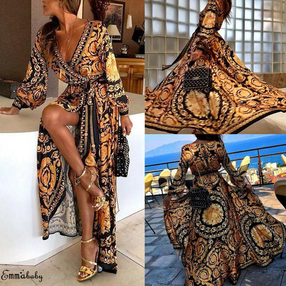 Fashion Casual Womens Boho Wrap Formal Wedding Bridesmaid Long Maxi Dress Loose Beach Holiday Summer Dress Beach