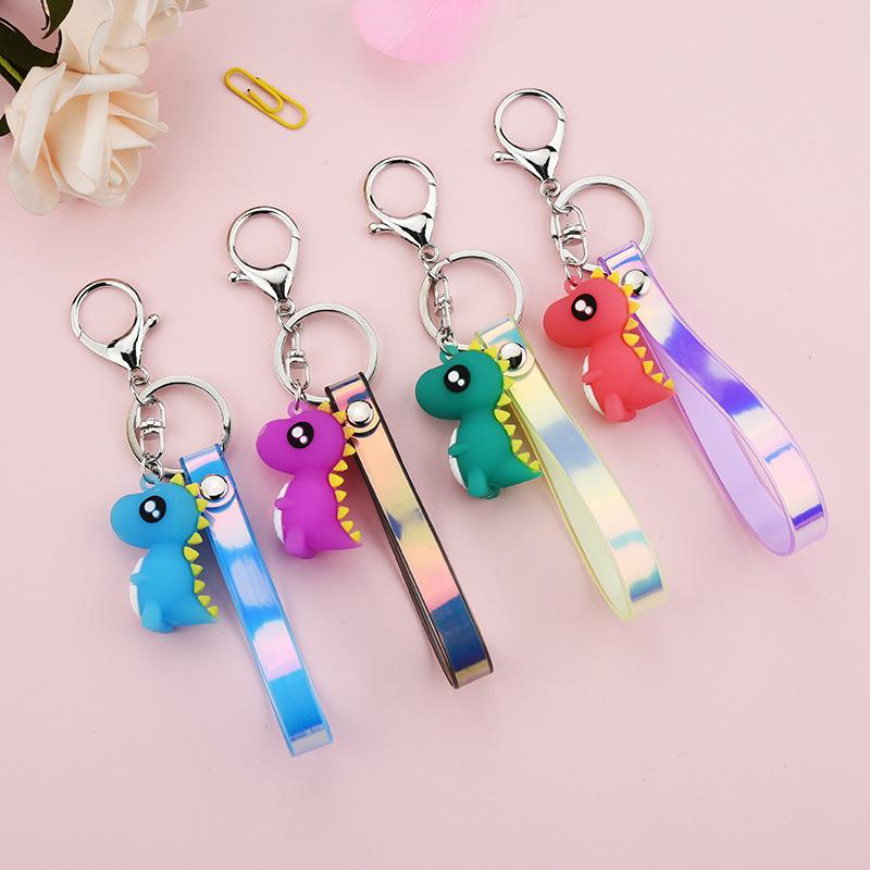 Cartoon Animal Keyrings Keychains Ring Dinosaur Mini Cute PVC Fashion Bag Charms Jewelry Accessories Car Key Chain Holder for Girls Women