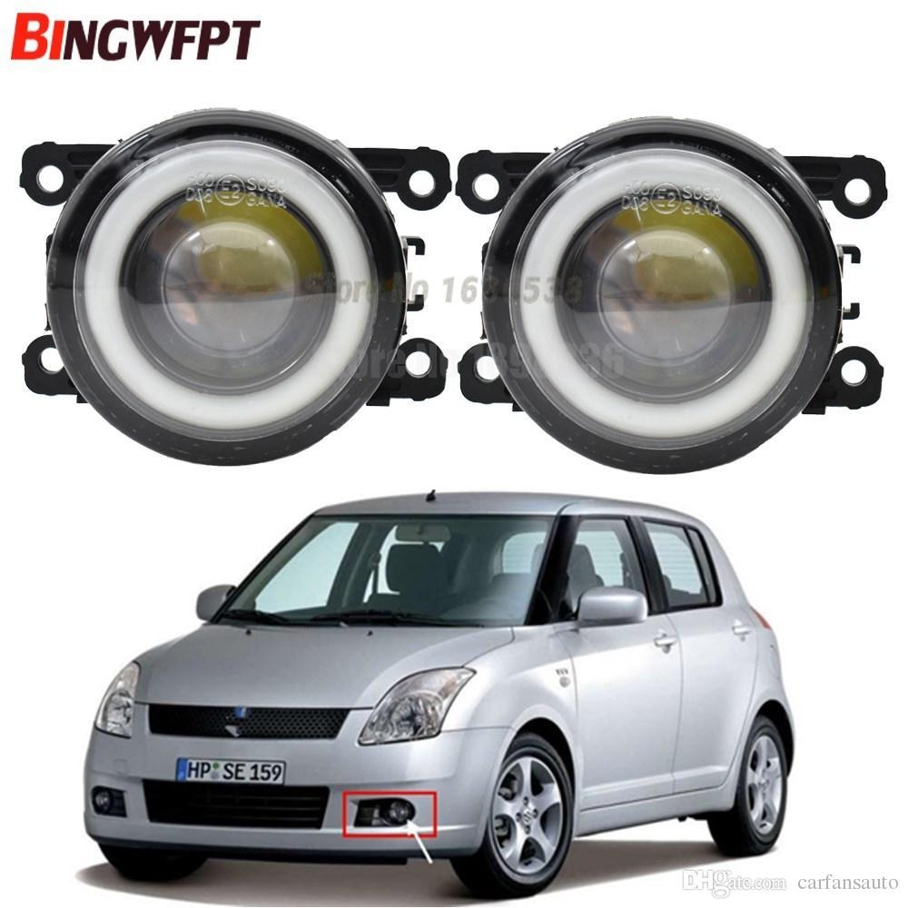 2pcs/pair (Left Right) Angel Eye car-styling Fog Lamps LED Lights For  Suzuki Swift MZ EZ Hatchback 2005-2015 For Suzuki Swift 2005