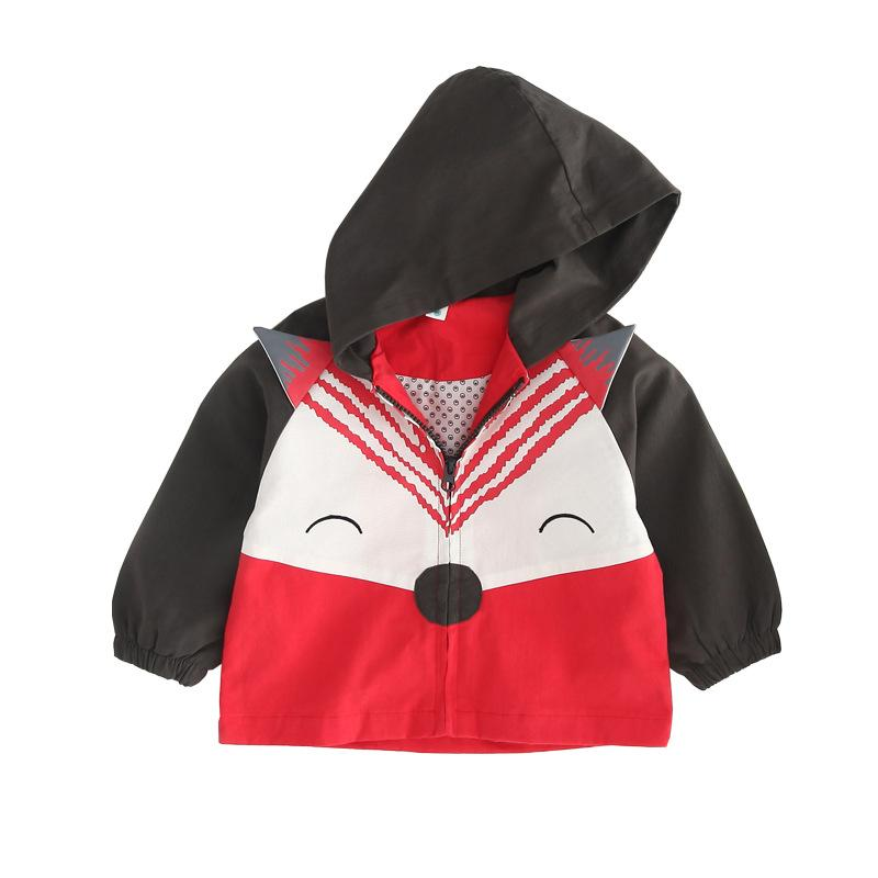 Korean Style Patchwork Kids Animal Coats Baby Boys Jackets Hooded Outerwear Children Windbreaker Spring Autumn Clothing 2019