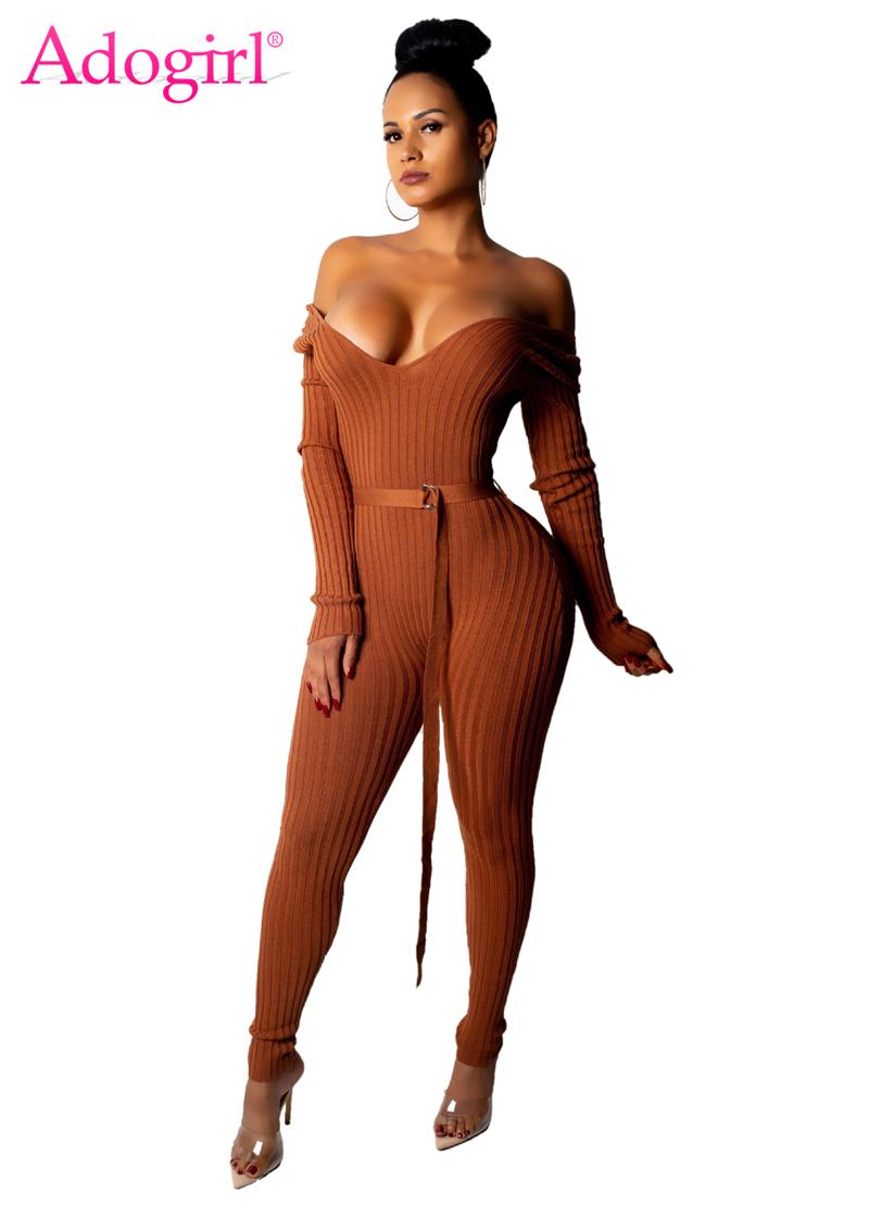 3deabcad5ce Adogirl Solid Off Shoulder Ribbed Jumpsuit With Belt Women Sexy V Neck Long  Sleeve Romper Night Club Overalls Knitting Jumper Q190427