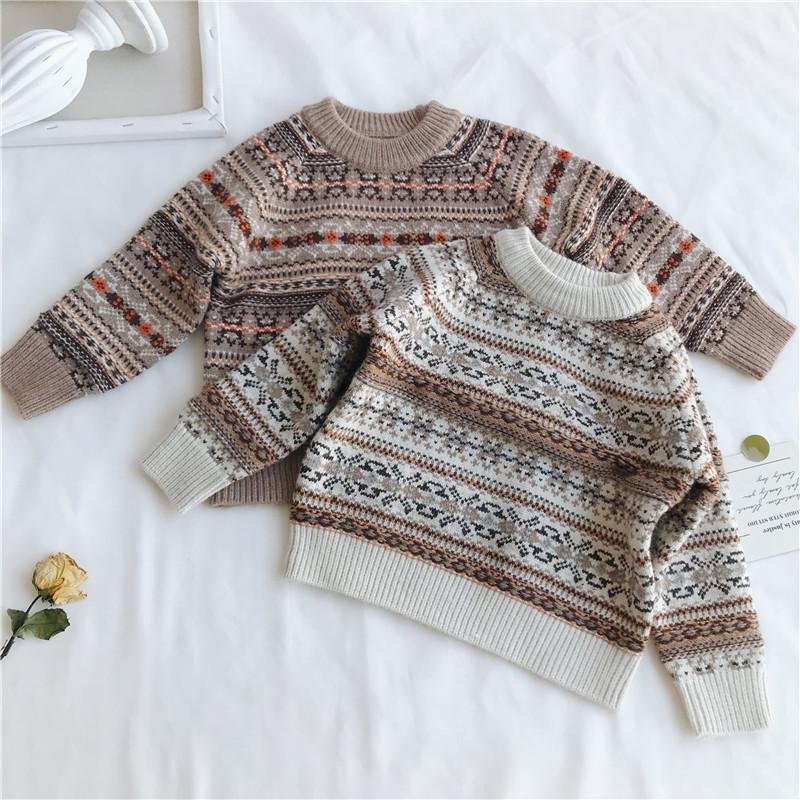 Wlg Boys Girls Winter Casual Sweaters Kids O Neck Long Sleeve