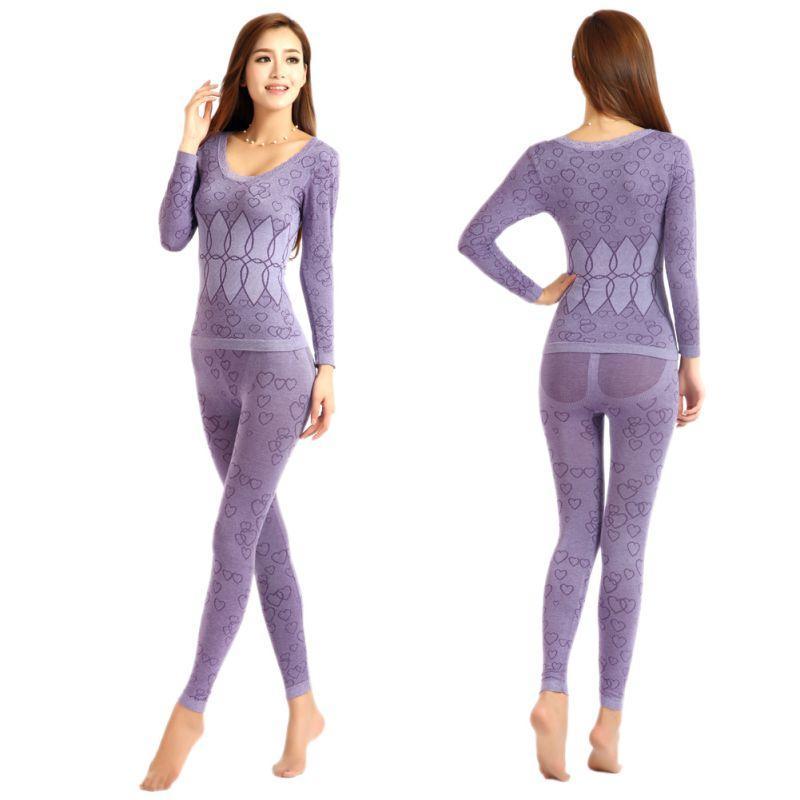 595a7d34f42bc0 Lange Unterhosen Frauen Für Winter Sexy Frauen Thermo Unterwäsche Anzug  Körperförmige Schlanke Damen Intim Sets Weibliche Pyjamas Warme