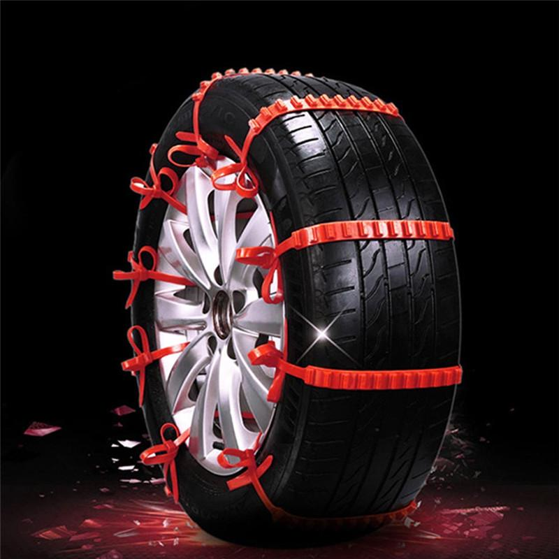 1PCS Red Nylon Universal Car Tires Snow wheel Chains Winter Non-slip Wearproof Anti-skid Emergency Chain for Car Truck SUV MPV