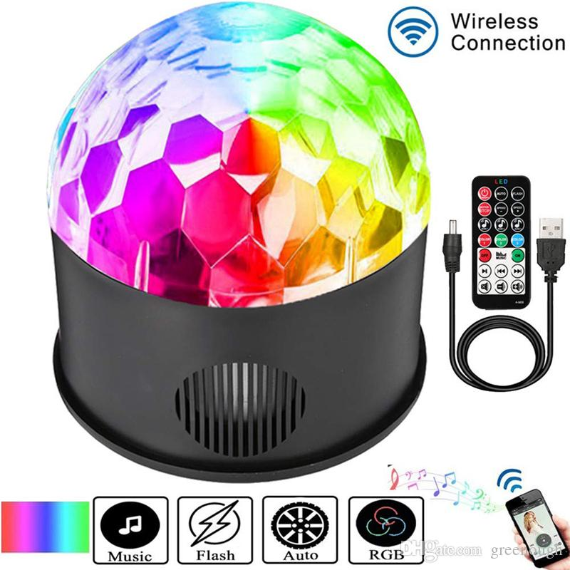 USB Play Music 9 Color LED Magic Ball Light 9W DJ KTV Bar Stage Light Birthday Party Effect Light Remote Bluetooth+Speaker 1pc