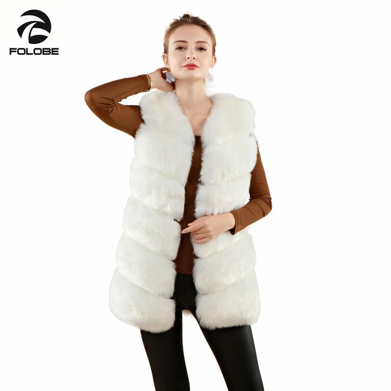 896d2f273f1 FOLOBE Casual Fur Vest coat Luxury Faux Fox Warm Women Coat Vests Winter  Fashion furs Women's Coats Jacket Gilet Veste White