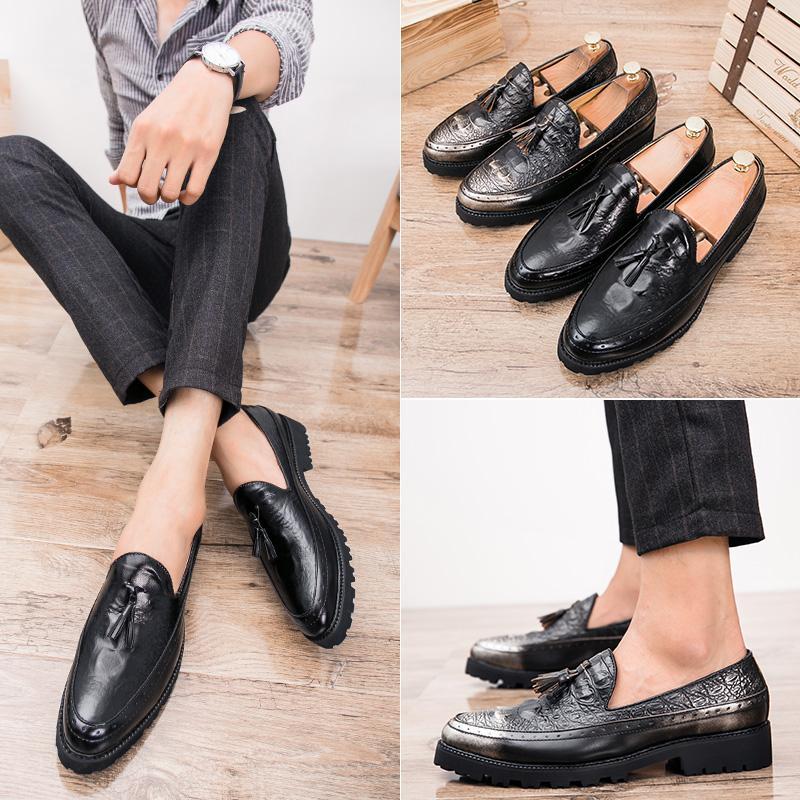 9fdf5347 Compre Zapatos De Moda Para Hombre Zapatos De Cuero Planos Ocasionales Al  Aire Libre Tendencia Juvenil Retro Personalidad Zapatos Hechos A Mano 37 43  Yardas ...