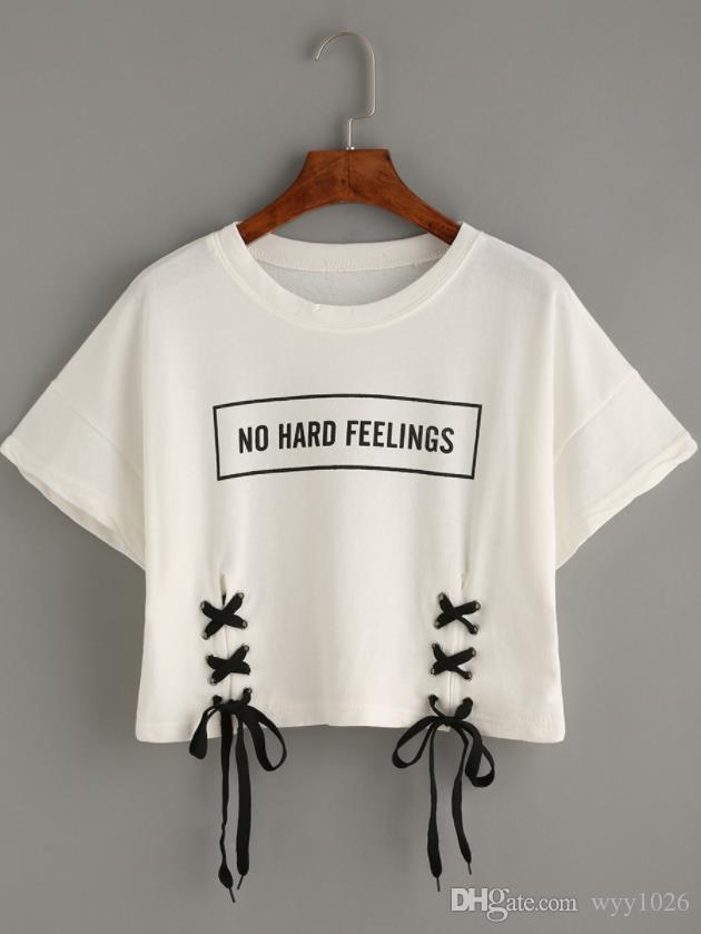 a46047e924c 2019 New Summer Crop Tops Women T Shirt Letter Print Short Sleeve Lace Up  Cotton Loose Sexy White T Shirt Dance Tee Tops Purchase T Shirt Crazy Tee  Shirts ...