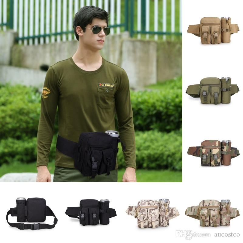 6 Styles Multifunction 600D Tactical Waist Belt Travel Camera Waist Bag Belt Detachable Water Bottle Outdoor Camouflage Kettle Bags G584F