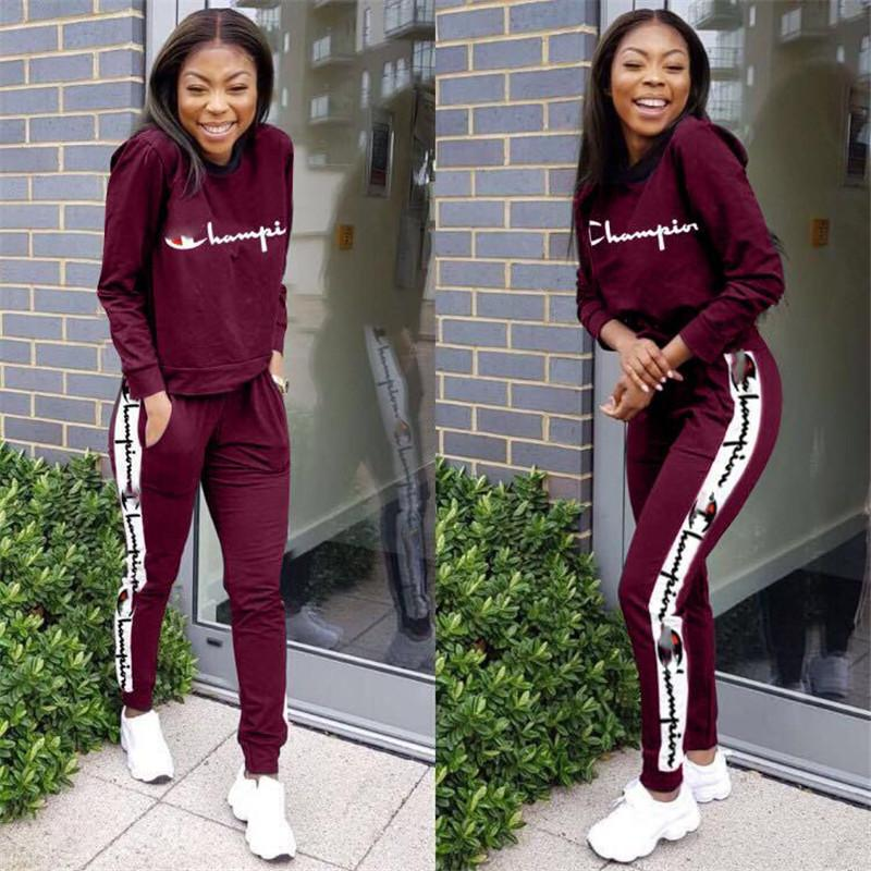 bcaffd4f84c0 2019 Women Champions Letter Print Tracksuit Long Sleeve T Shirt Top + Loose  Pants Leggings Set Hoodies Outfits Sportswear Suit Sweatshirt From ...