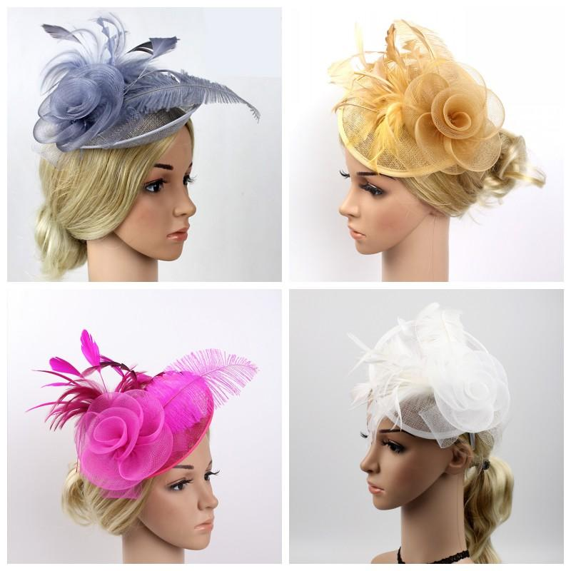 Party Headwear Top Hats Berretto da sposa Feather Hat Lace Donna Multicolor Kickup Fashion Flowers Bardian 21mz F1